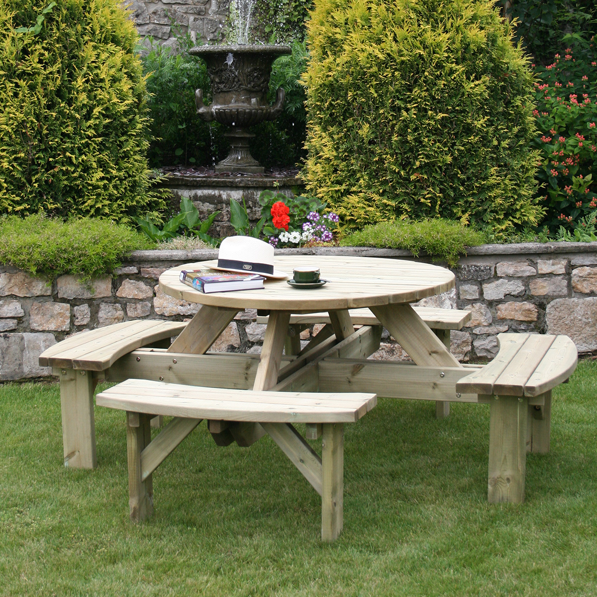 Charles Bentley Round Wooden Supported Picnic Table