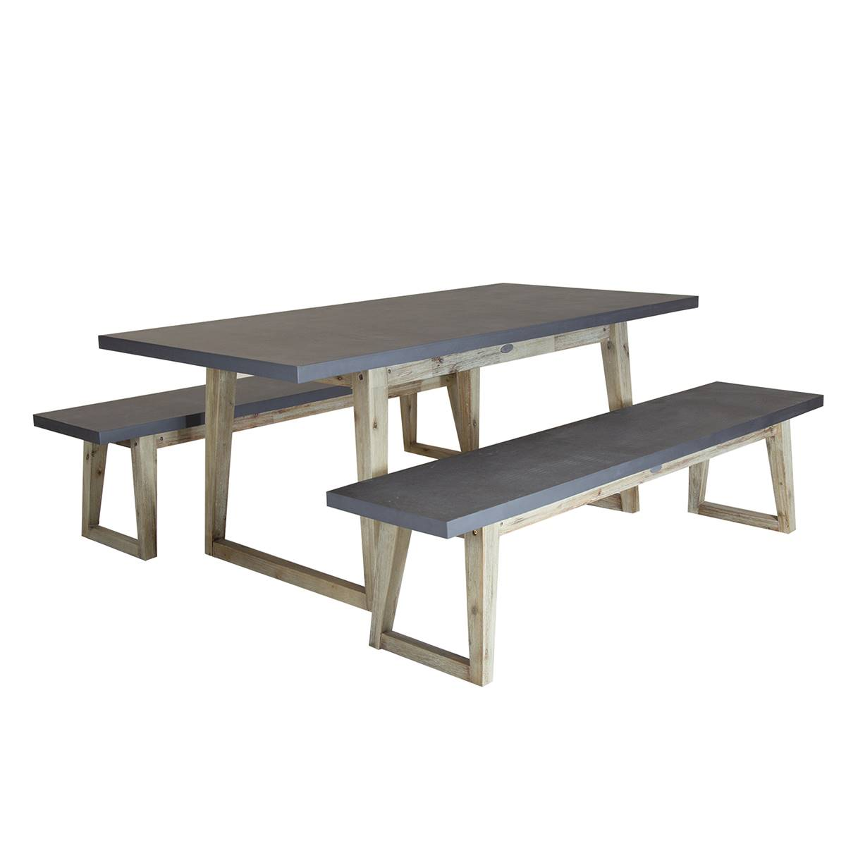 Charles Bentley Fibre Cement And Wood Dining Set Including Table 2 Benches