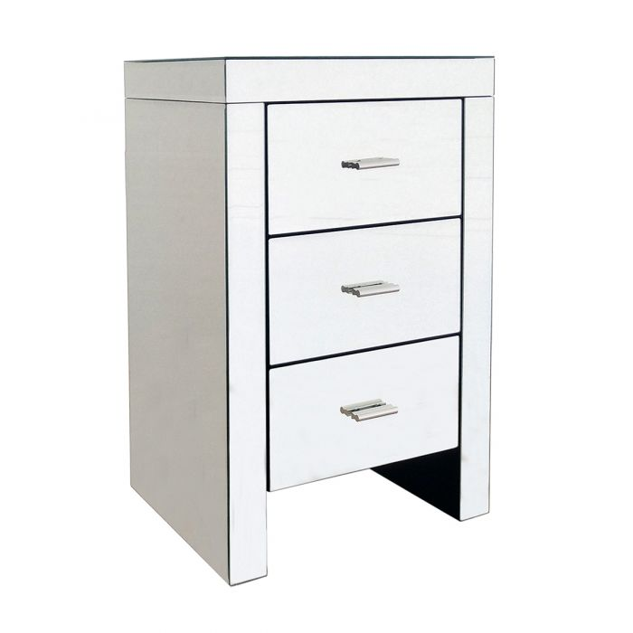 Charles Bentley 3 Drawer Mirrored, 3 Drawer Mirrored Bedside Table Very
